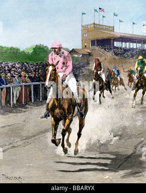 American race track 1880s. Hand-colored halftone of an illustration - Stock Photo