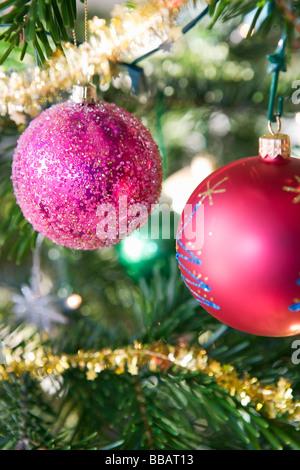 Christmas decorations on tree - Stock Photo