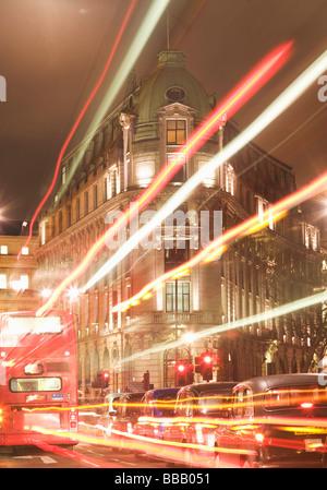 London street scene at night - Stock Photo