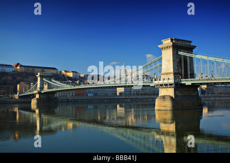 The Chain Bridge and the Royal palace of Buda in Budapest, Hungary - Stock Photo