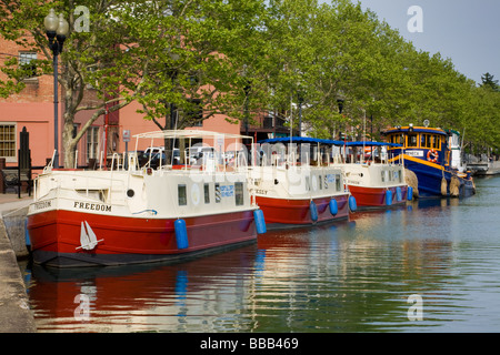 Canal boats in harbor, Seneca Falls, New York, Cayuga-Seneca Canal, Finger Lakes region - Stock Photo