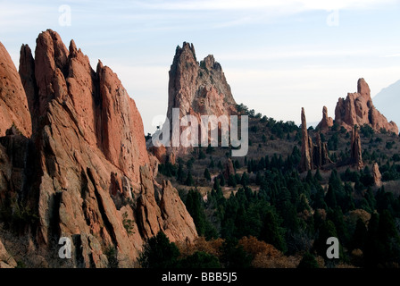 South Gateway Rock and Cathedral Spires Garden of the Gods Colorado USA - Stock Photo