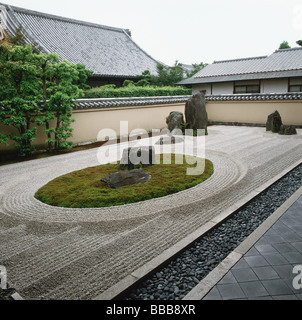 Japan, Kyoto, Daitoku-ji, Ryogen-in Temple.  Horai style garden - Stock Photo
