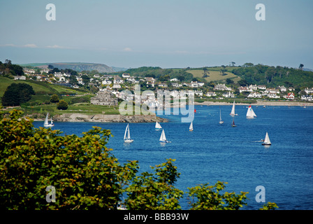a view over the carrick roads looking towards st.mawes and falmouth bay from pendennis castle,falmouth,cornwall,uk - Stock Photo