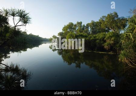 Home Billabong in the Yellow Water Wetlands.  Cooinda, Kakadu National Park, Northern Territory, AUSTRALIA - Stock Photo