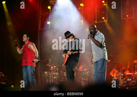 BUDAPEST HUNGARY JUNE 28 2008 Carlos Santana performing his band on T Mobile concert - Stock Photo