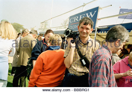 Martin Parr (documentary photographer) at work, at the Badminton Horse Trials, Gloucestershire, England, UK Stock Photo