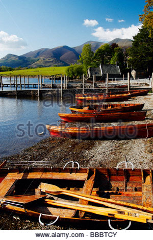 Boats on Derwentwater, Keswick, The Lake District, Cumbria, England, UK - Stock Photo