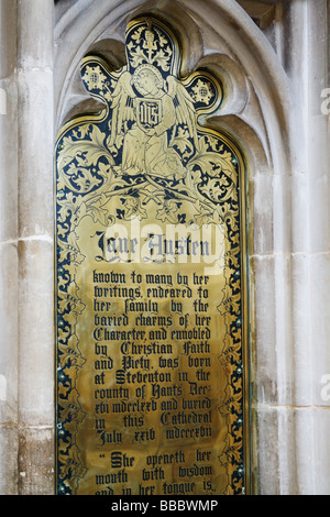 Jane Austen  grave memorial near her grave in Winchester cathedral. - Stock Photo