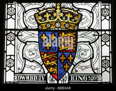 Stained glass window in The Great Hall in Winchester, England depicting coat of arms and King Edward IV - Stock Photo