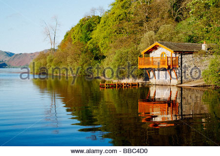 Boathouse on ullswater near Pooley Bridge. Lake District national park, England, UK. - Stock Photo