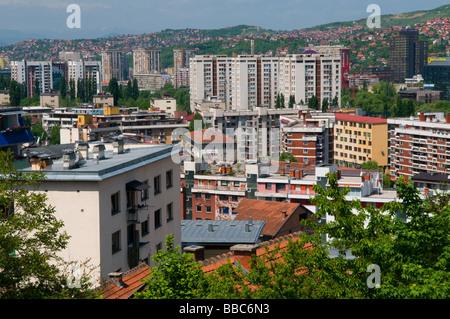 View of residential buildings in the city of Sarajevo capital of Bosnia Herzegovina - Stock Photo