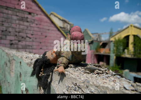 A doll over of wall which shows shrapnel damage from the 1992-95 war in Sarajevo capital of Bosnia Herzegovina - Stock Photo