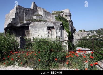 Rock formation at Les Baux de Provence France - Stock Photo
