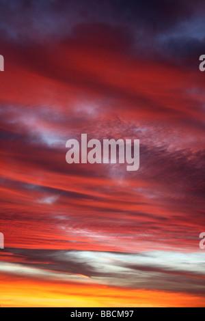 'Red Sky In The Morning, Sailor's Take Warning' Urban Winter Sunrise, Liverpool, Merseyside, UK - Stock Photo