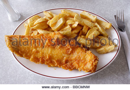 Traditional fish and chips in a sea front cafe, Hastings, East Sussex. England - Stock Photo