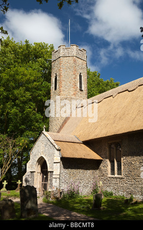 UK England Norfolk Horsey All Saints thatched parish church - Stock Photo