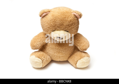 teddy bear isolated on a white studio background - Stock Photo