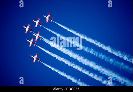 Spanish Air Force Patrulla Aguila Aerobatic Team flying the CASA C-101 Aviojet - Stock Photo