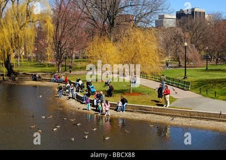 Families with kids feeding ducks in the Lagoon of the Public Garden of Boston, Massachusetts, USA