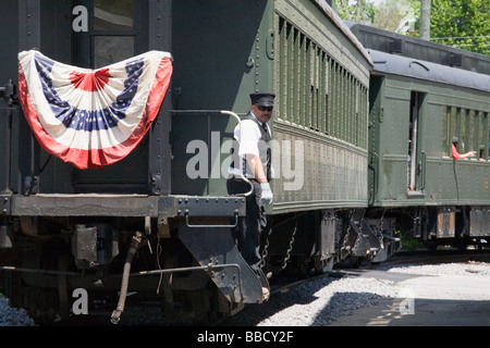 Steam excursion train Arcade and Attica Railroad leaving Arcade in western New York Wyoming County - Stock Photo