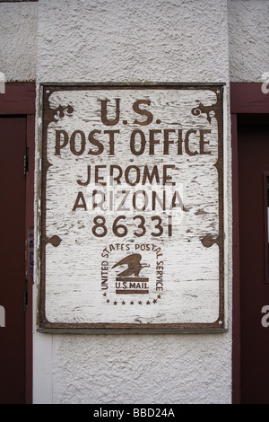 US postal sign,Jerome,Arizona,USA,old wild west sign - Stock Photo