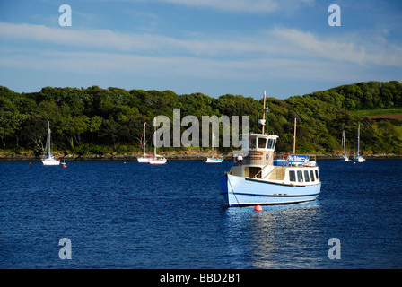The St. Mawes - Falmouth ferry at St Mawes Harbour on the River Fal, Cornwall, UK - Stock Photo