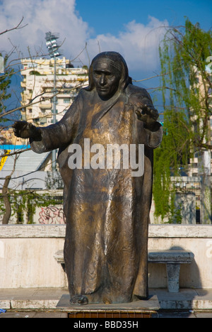 Statue of Mother Teresa at University in Tirana Albania Europe - Stock Photo