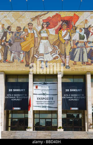 Albania mosaic on National Museum of history in central Tirana Albania Europe - Stock Photo