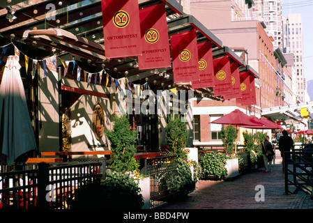 Yaletown, Vancouver, BC, British Columbia, Canada - Outdoor Restaurants and Patios in Historic District of City - Stock Photo