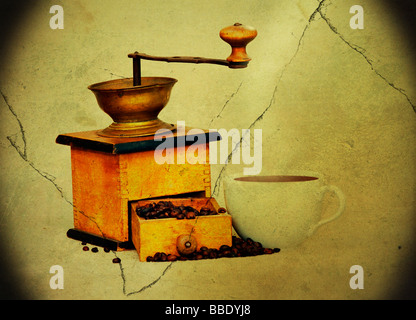 Antique grinder coffee and beans and cup of hot black coffee in grunge style - vignette - Stock Photo