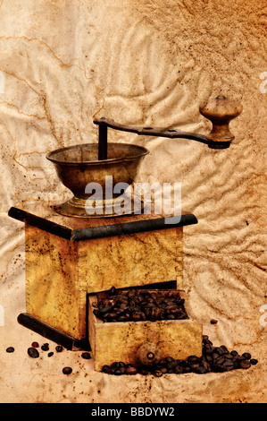 Antique coffee grinder with coffee beans in grunge style - Stock Photo