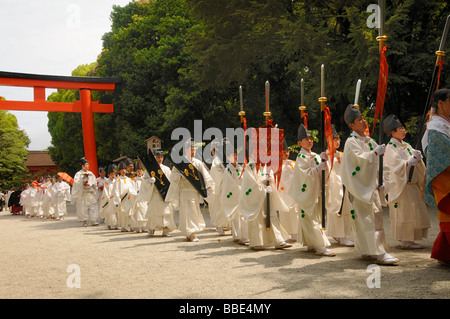 Beginning of the procession from the Shimogamo to the Mikage shrine at Mt. Mikage, west of the Hie Mountain, Kyoto, - Stock Photo