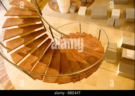House interior with spiral staircase; Puerto Vallarta, Mexico - Stock Photo