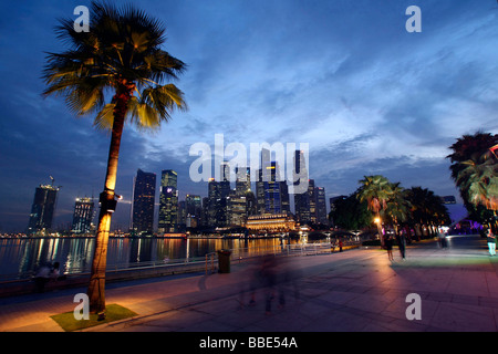 Marina Bay, skyline, Singapore, Asia - Stock Photo