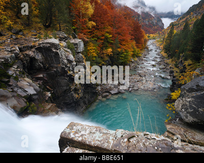 Waterfall and Arazas river, Ordesa Valley, Spanish Pyrenees - Stock Photo