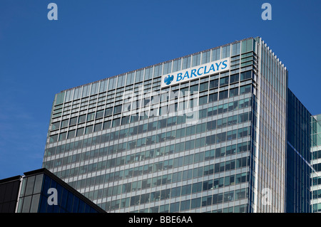 Barclays building in Canary Wharf in Docklands London England - Stock Photo