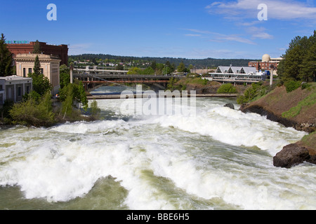 Spokane River during major flood in Riverfront Park; Spokane, Washington, USA - Stock Photo