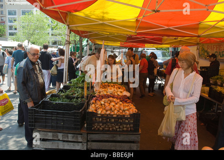 Onions and other vegetables on sale at farmers stands in the Union Square Greenmarket in New York - Stock Photo
