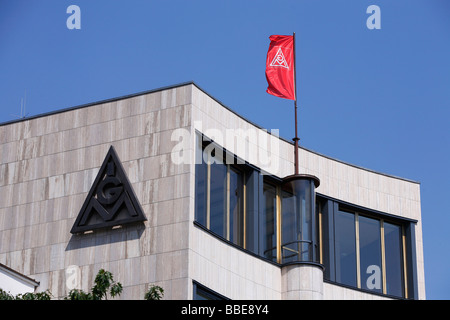 Flag on the building of the IG Metall industrial union, Berlin, Germany, Europe - Stock Photo