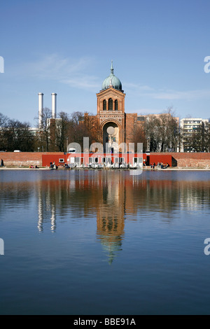 City park Engelbecken with café and St. Michael's Church in Berlin, Germany, Europe - Stock Photo