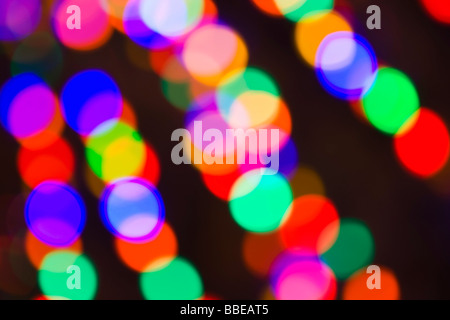 Blurred Holiday Lights in the Bavarian-themed Town of Leavenworth, Washington, USA - Stock Photo