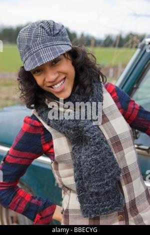 Portrait of Young Woman on a Farm in Hillsboro, Oregon, USA - Stock Photo