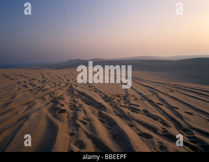 QATAR South East Desert View over sand dunes at sunset near the Sealine Resort on Persian Gulf coast an area for - Stock Photo