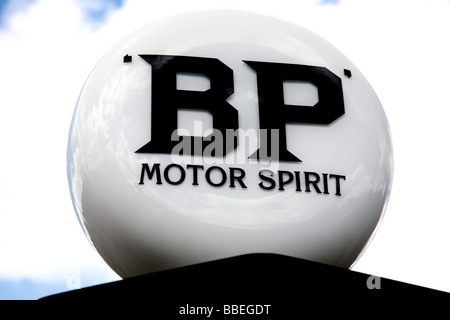 Old fashioned BP sign on petrol pump - Stock Photo