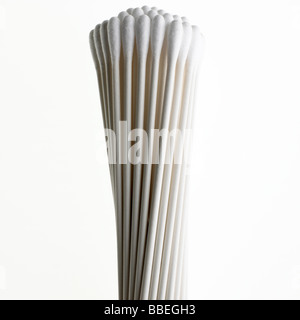 Cotton Wool Buds In a bunch on a white backgroung - Stock Photo