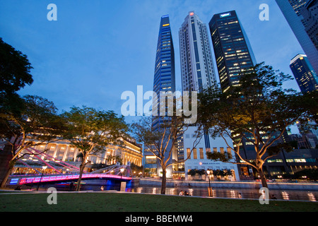 Singapore skyline panorama Fullerton Hotel, Singapur, travelstock44 - Stock Photo