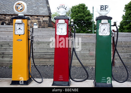 Old fashioned petrol pumps at museum in West Midlands - Stock Photo