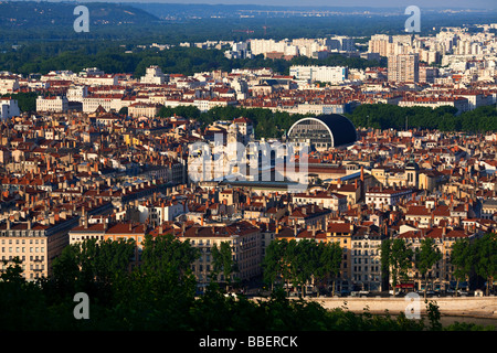 Panoramic view from Viewpoint of Notre Dame de Fourviere hill Hotel de Ville Opera Lyon Rhone Alps France - Stock Photo
