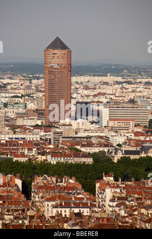 Panoramic view from Viewpoint of Notre Dame de Fourviere hill Tour du Credit Lyonnais tower Lyon Rhone Alps France - Stock Photo